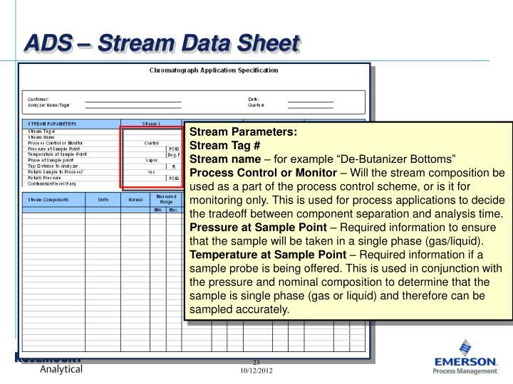 ADS – Stream Data Sheet