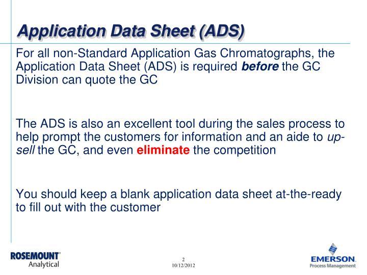 Application Data Sheet (ADS)