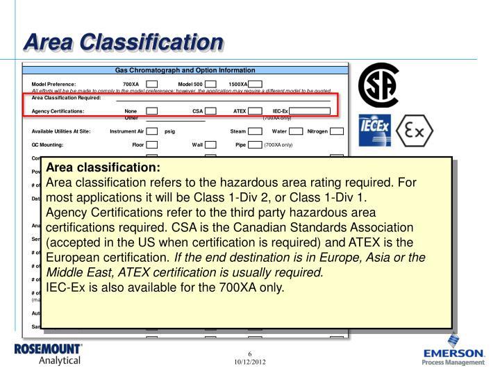 Area Classification