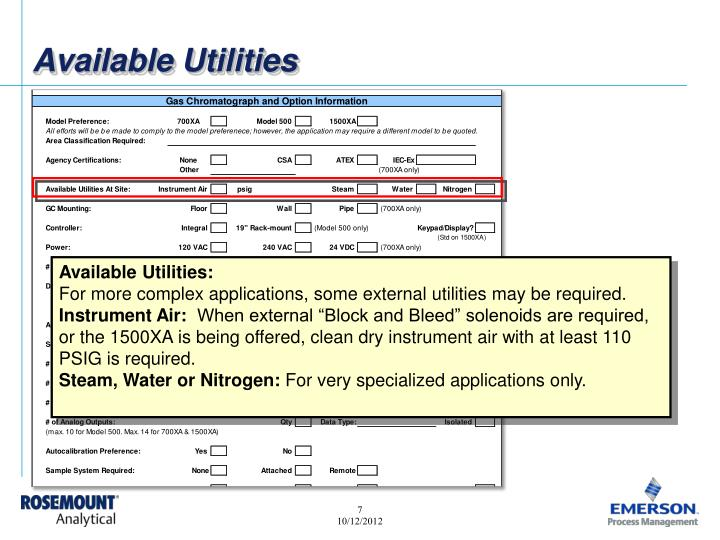 Available Utilities