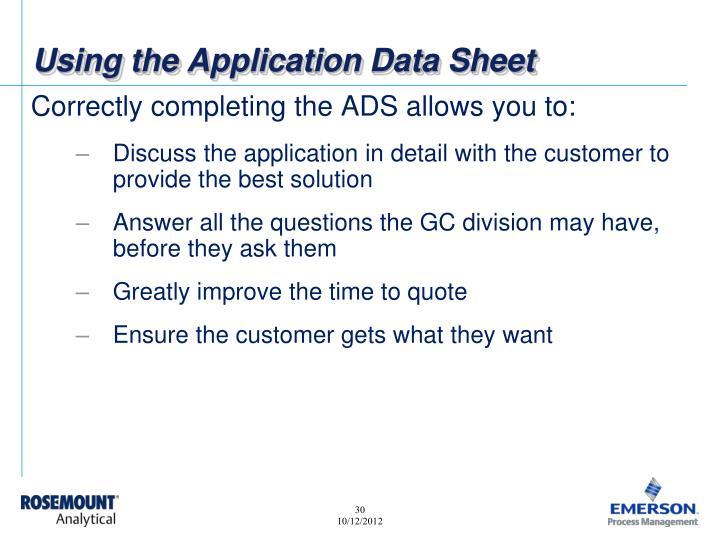 Using the Application Data Sheet