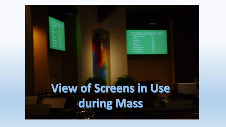 View of Screens in Use during Mass