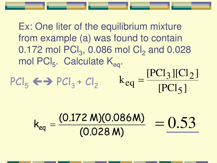 Ex: One liter of the equilibrium mixture from example (a) was found to contain 0.172 mol PCl