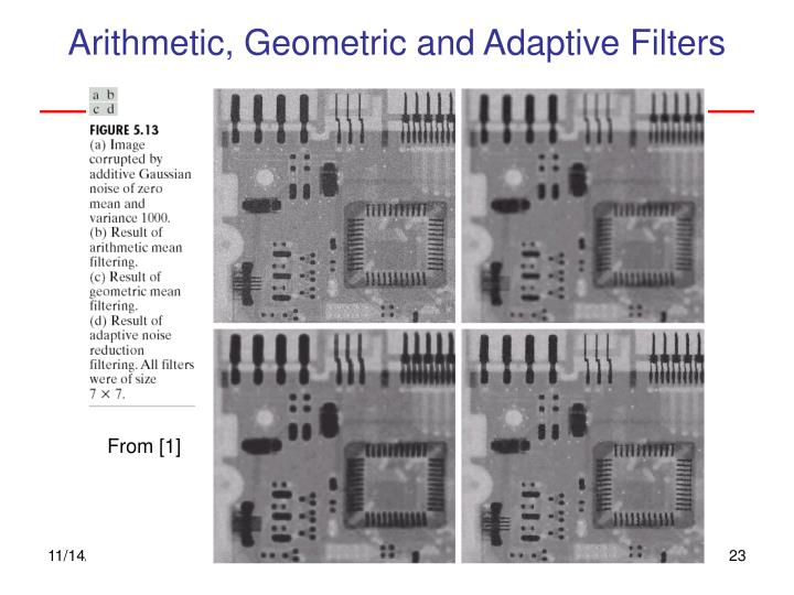 Arithmetic, Geometric and Adaptive Filters