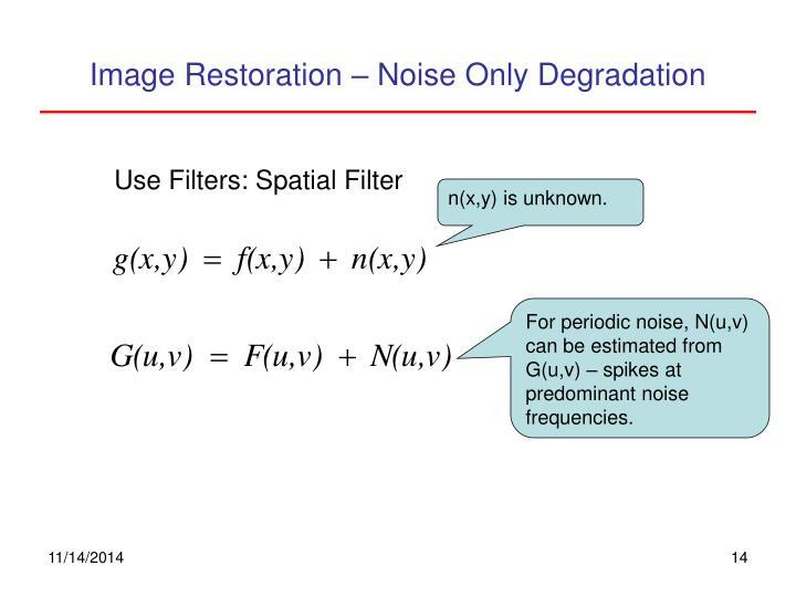 Image Restoration – Noise Only Degradation