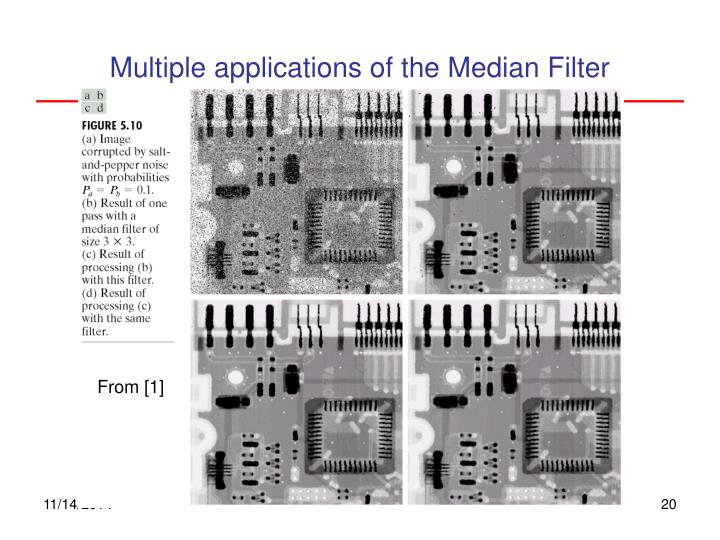 Multiple applications of the Median Filter