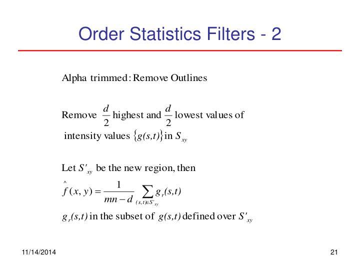 Order Statistics Filters - 2