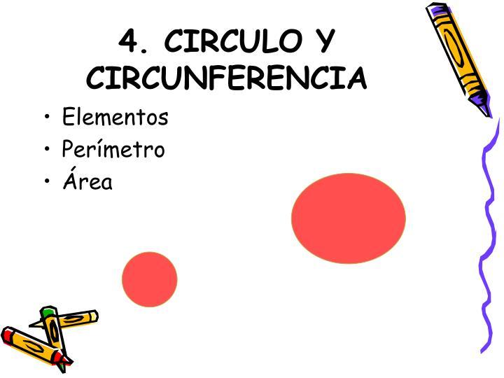 4. CIRCULO Y CIRCUNFERENCIA