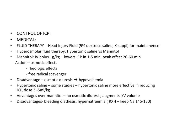 CONTROL OF ICP: