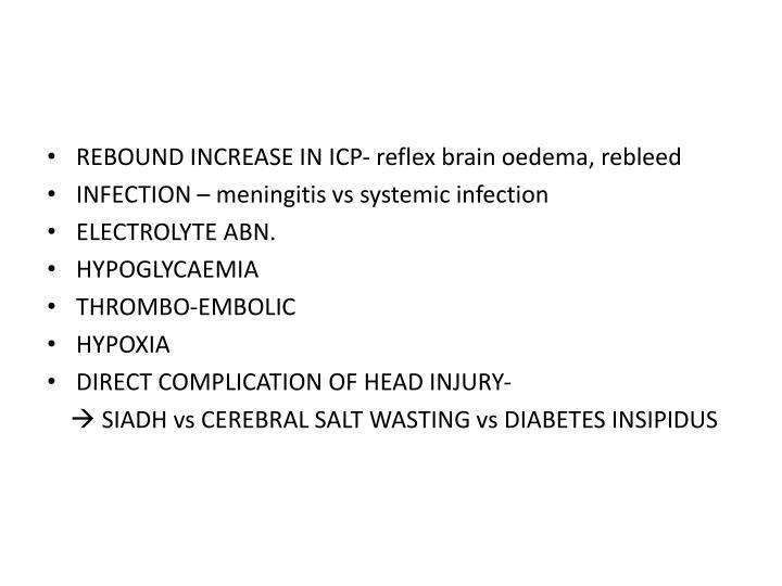 REBOUND INCREASE IN ICP- reflex brain oedema, rebleed