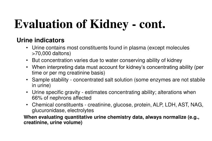 Evaluation of Kidney - cont.