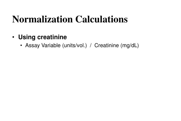 Normalization Calculations