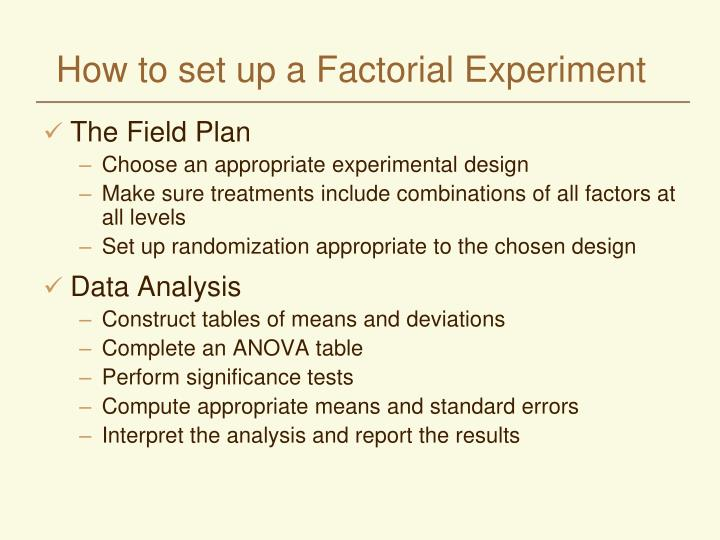 How to set up a Factorial Experiment