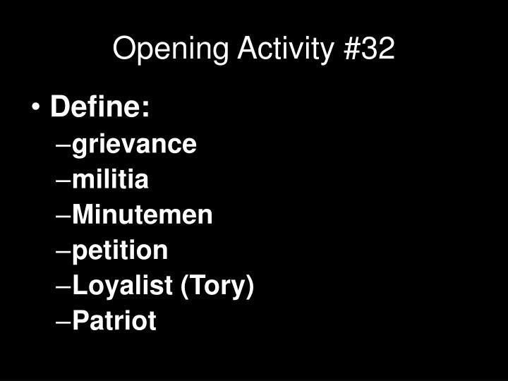 Opening activity 32