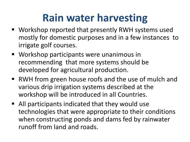 Rain water harvesting