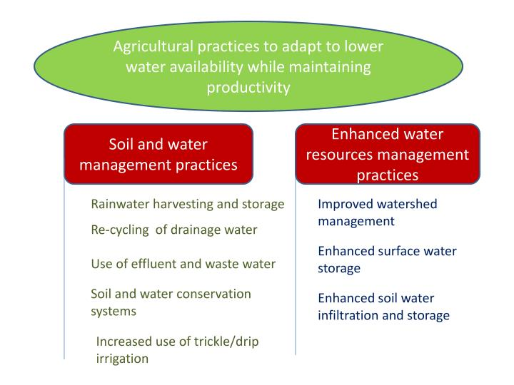 Agricultural practices to adapt to lower water availability while maintaining productivity