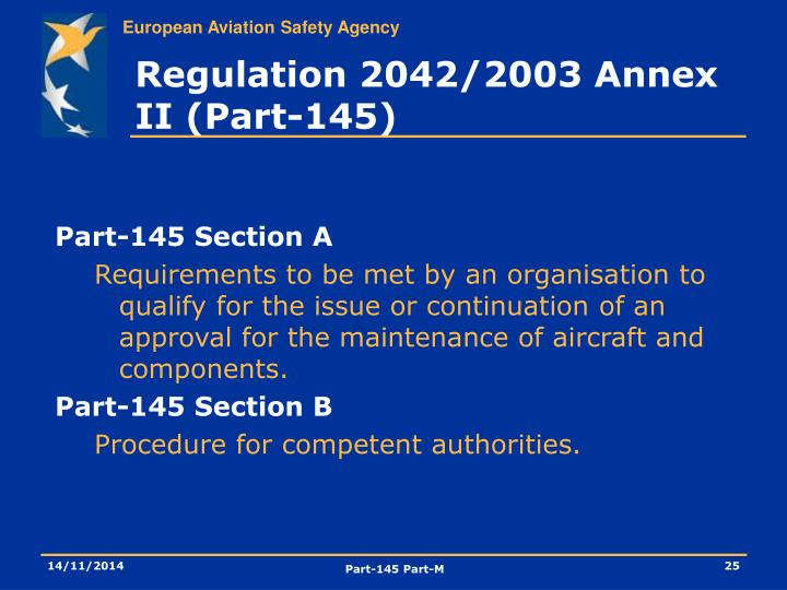Regulation 2042/2003 Annex II (Part-145)
