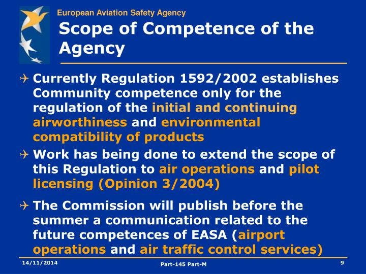 Scope of Competence of the Agency
