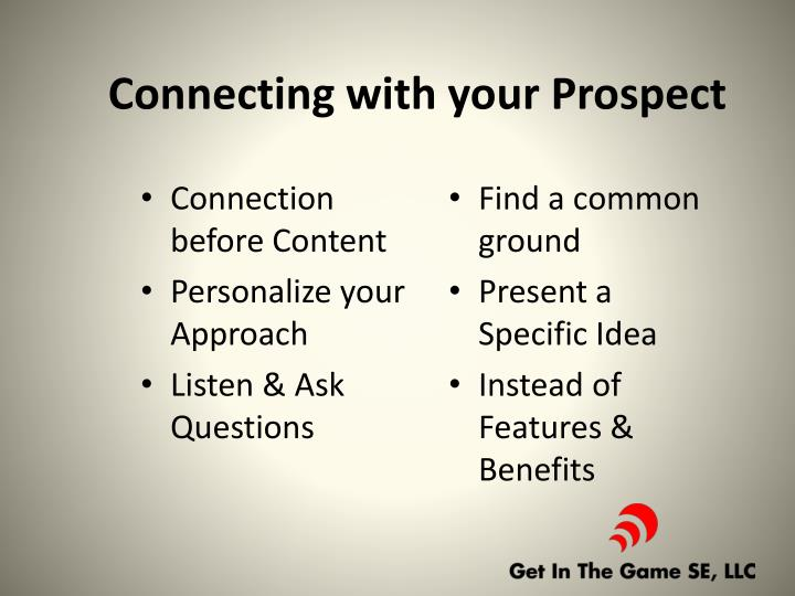 Connecting with your Prospect