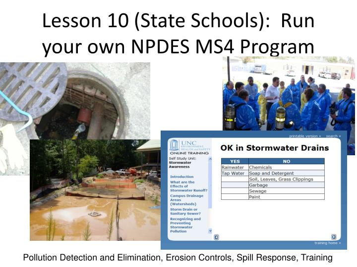 Lesson 10 (State Schools):  Run your own NPDES MS4 Program