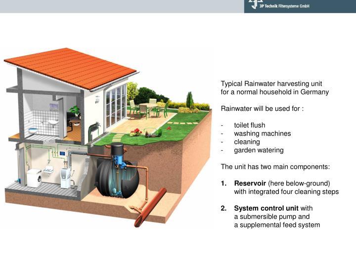 Typical Rainwater harvesting unit