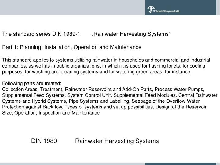 """The standard series DIN 1989-1 """"Rainwater Harvesting Systems"""""""