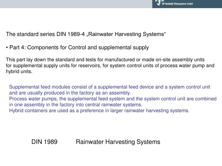 """The standard series DIN 1989-4 """"Rainwater Harvesting Systems"""""""