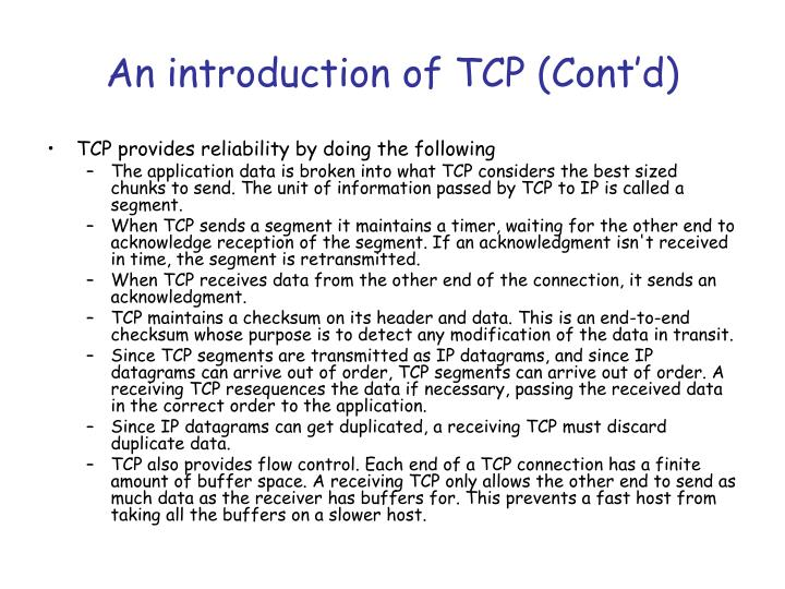 An introduction of TCP (Cont'd)
