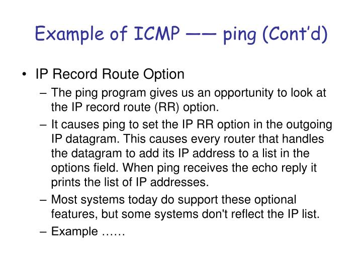 Example of ICMP —— ping (Cont'd)