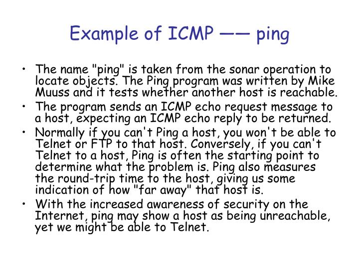 Example of ICMP —— ping