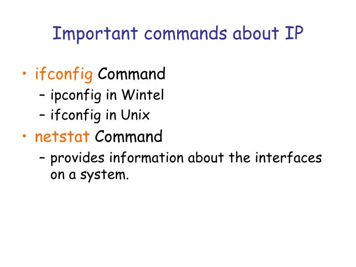 Important commands about IP