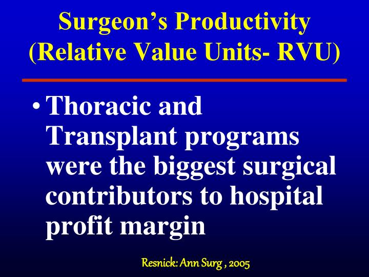Surgeon's Productivity