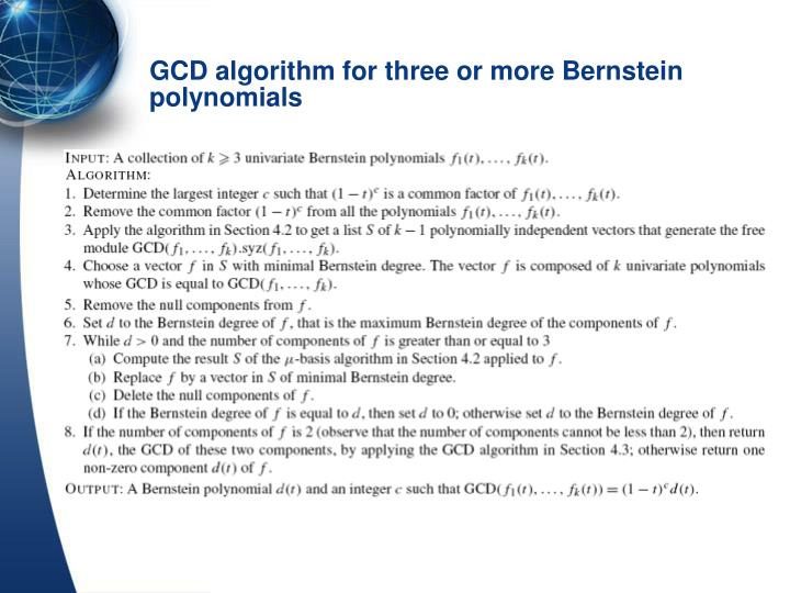 GCD algorithm for three or more Bernstein