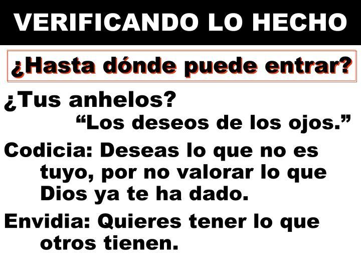 VERIFICANDO LO HECHO