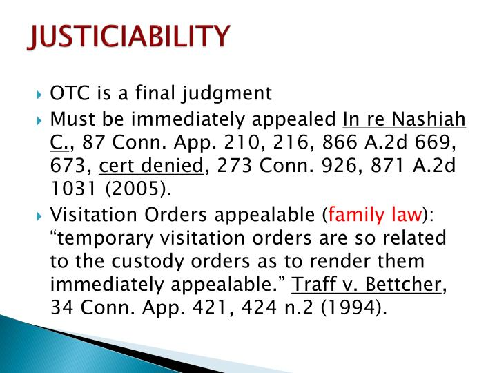 JUSTICIABILITY