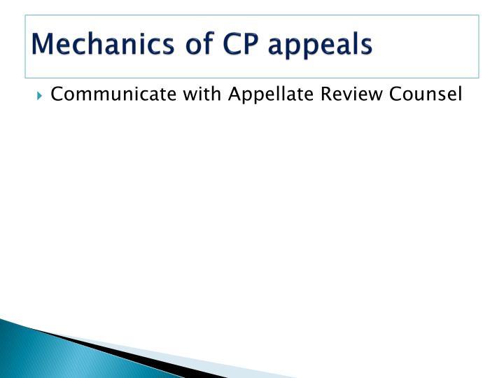 Mechanics of CP appeals