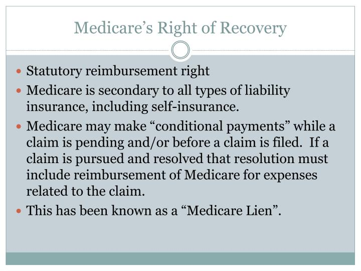 Medicare s right of recovery