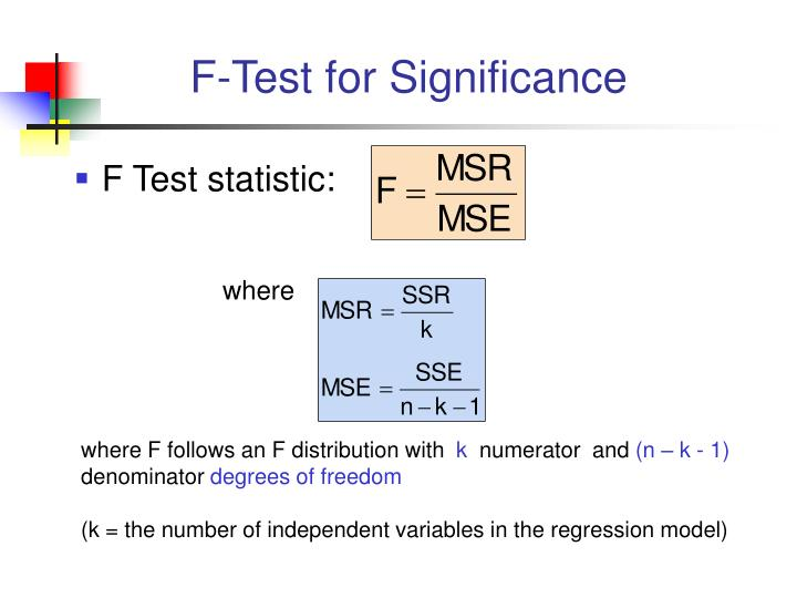 F-Test for Significance