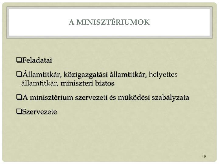 A minisztériumok