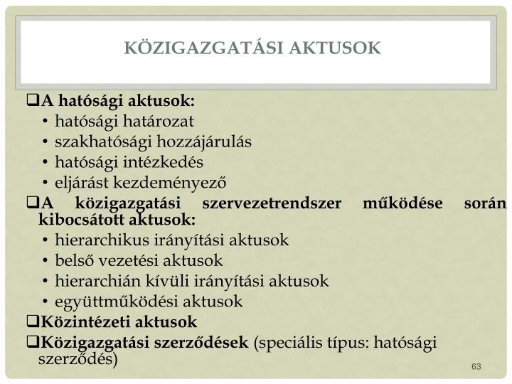 Közigazgatási aktusok