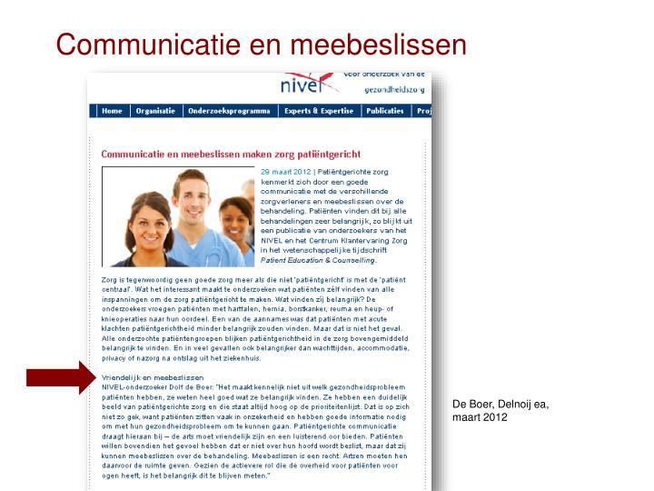 Communicatie en meebeslissen