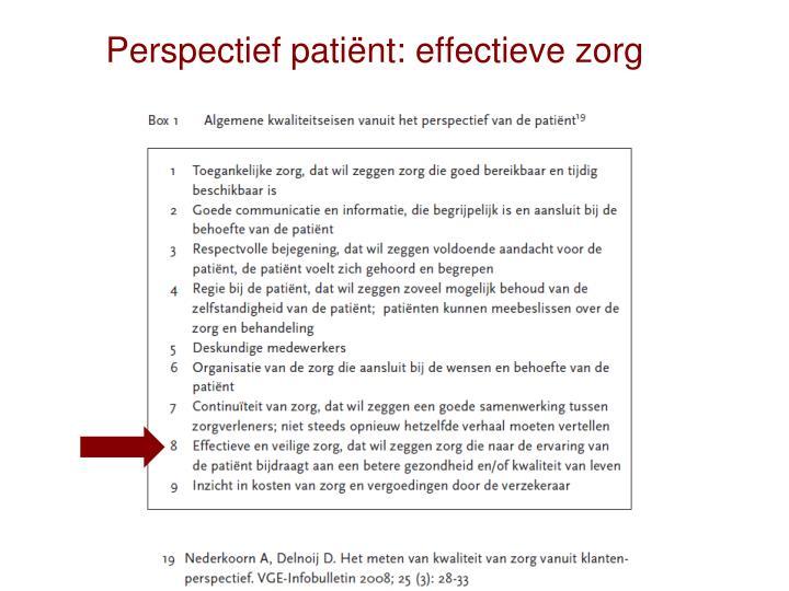 Perspectief patiënt: effectieve zorg