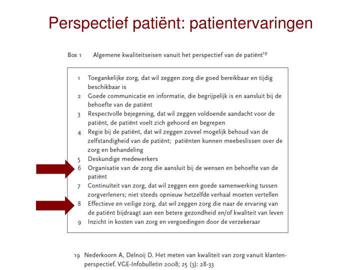 Perspectief patiënt: patientervaringen