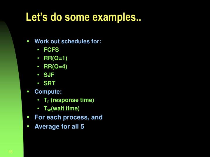 Let's do some examples..