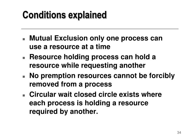 Conditions explained