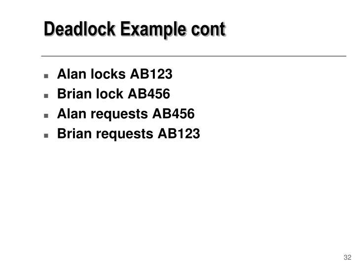 Deadlock Example cont