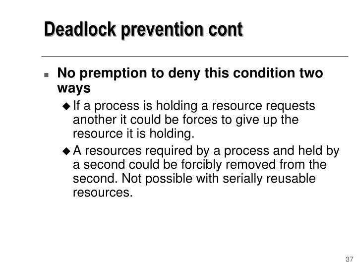 Deadlock prevention cont