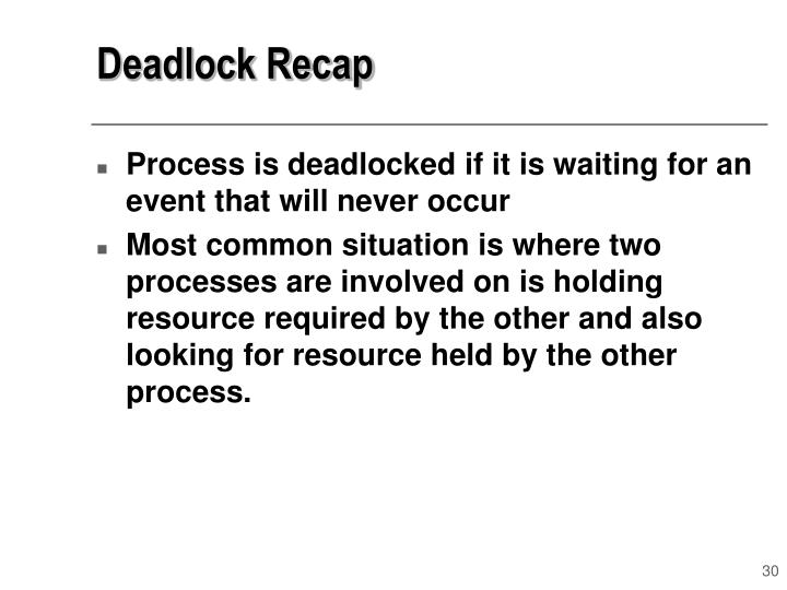 Deadlock Recap