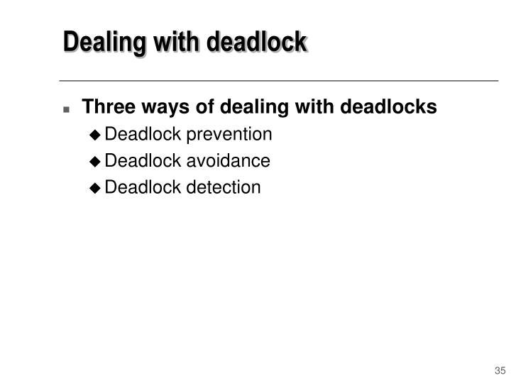 Dealing with deadlock