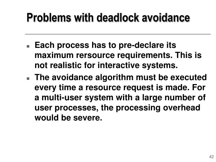 Problems with deadlock avoidance